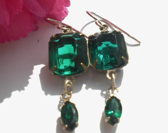 Emerald Swarovski Crystal Earrings Vintage Crystals  Emerald Marquise Crystal Drops