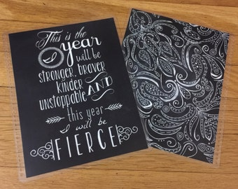 Front and Back Cover Set FIERCE New Year Quote for use with Erin Condren, Happy Planner or MomOnTheGo/Mormon Planner