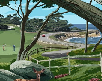 Pacific Grove, California - 17 Mile Drive - Lantern Press Artwork (Art Print - Multiple Sizes Available)