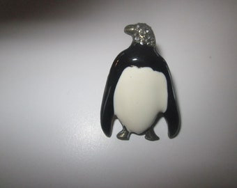 penguin Pin with hear encrusted with rhinestones