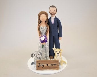 Bride & Groom with Dogs Personalized Wedding Cake Topper by MUDCARDS