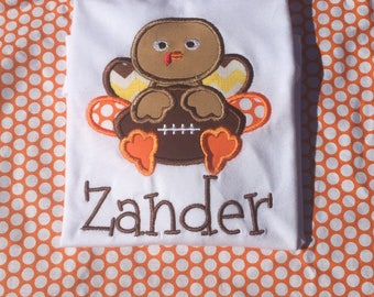 Boy thanksgiving shirt, turkey shirt, boy turkey shirt, football turkey shirt, turkey with football, first thanksgiving, football shirt