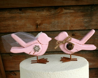 Blush Pink Love Birds Cake Topper / Wooden Cake Topper / Wedding Cake Topper / Rustic Bird Cake Topper