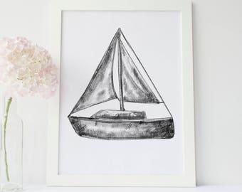 Sailboat Print, Nautical Decor, Black and White, Sailboat Poster, Sailboat Wall Art, Sailing Print, Maritime, Boat Print, Coastal Art, Lake