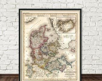 Map of Denmark, Holstein, Mecklenburg -  Giclee archival print - Old map restored