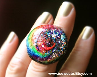 Rainbow Glitter Ring, Colorful Cyclone, adjustable size ring, big sparkly festival ring, intense color jewelry handcrafted in resin isewcute