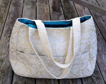 Cream jacquard purse