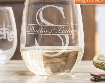 Personalized Wine Glasses, Wedding Gift, Etched Wine Glasses, Anniversary Gift For Women, Monogram Wine Glass, Stemless Wine Glass