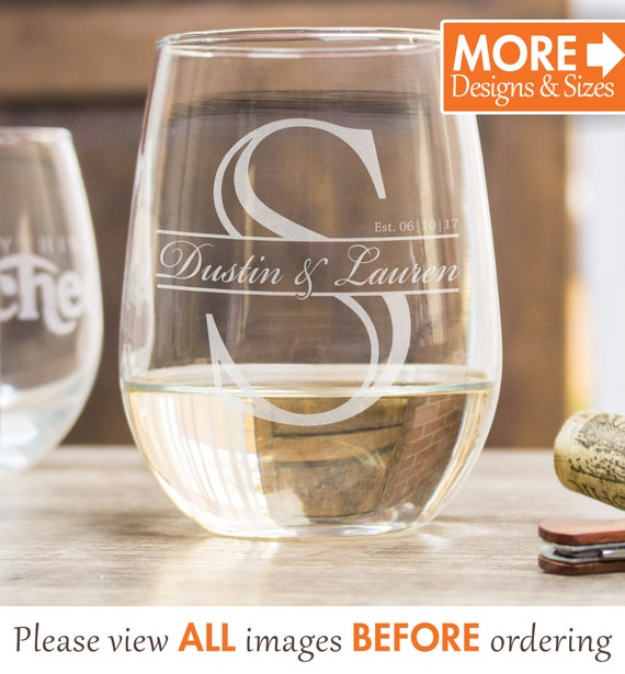 Personalized Wine Glasses Wedding Gift Etched Wine Glasses