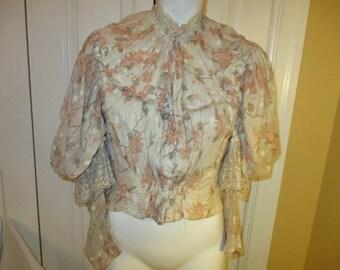 antique lace trim cotton blouse/top/bodice