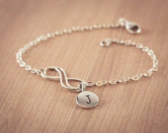 Infinity Love Bracelet  - one(1)  initials , Sterling Silver Double wire, Personal Initial,  Eternity Circle, Infinity Link,  - Dainty B
