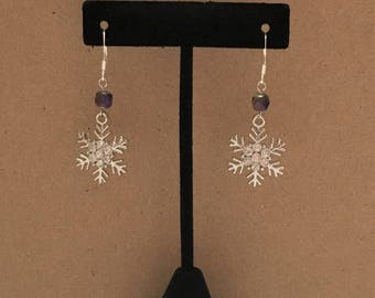 Winter Snowflake Earrings with Iridescent Bead