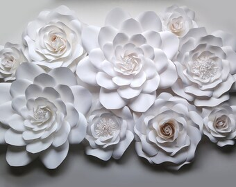 Set of 9 white paper flowers for photobooth backdrop, home decor. Paper flower wall decor. Nursery decor. Flower party decoration.