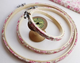 Pink Rose coloured Fabric Wrapped Embroidery Hoop. Tana Lawn, Libertys of London Haberdashery. Nursery picture frame. Pink embroidery hoop.