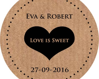 Personalised wedding stickers, custom favour labels Kraft brown Custom Name and date 3 Available sizes 37mm x 35, 51mm x 15, 60mm x 12