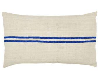 Blue Stripe Authentic Vintage Grain Sack Lumbar Pillow