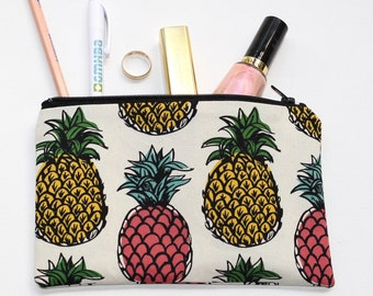 Pineapple pouch / clutch / pencil case with zip closure