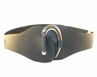 Black Leather Belt with Silver Hook Handmade