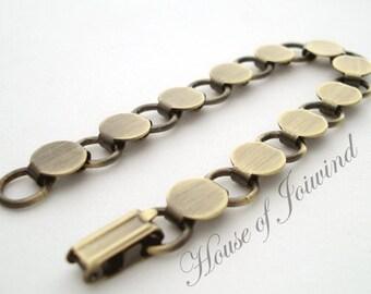 Glue Pad Disc Loop Bracelet Blank ANTIQUED BRASS Link Forms - Lot of 5 Pieces
