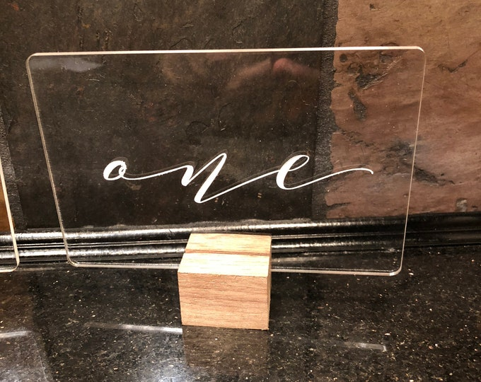 "Acrylic ""White Letter"" Transparent Table Numbers 1-10 Wedding Reception Party Approx. 3x5 w/ Unfinished Walnut Notch Base Air and Sea Studio"
