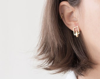 14k gold stud earrings - 14k gold earrings for women - gold earings - solid gold stud earrings - 14k yellow gold earrings - RectSolidGold