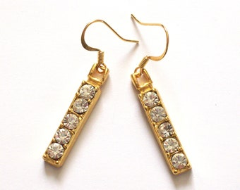 GOLD BAR - Linear Dangle Earrings with Rhinestones