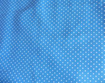 Cotton turquoise small white points