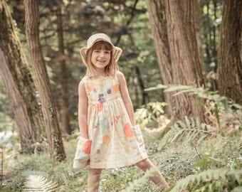 Summer girl dress, dress girl dress Nani Iro, sleeveless dress with pockets