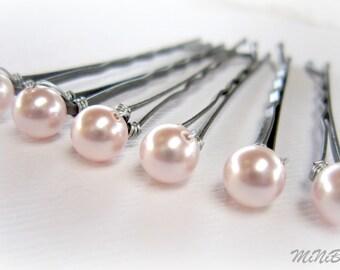 Bridal Pearl Hair Pins. Pink Pearl Bobby Pins. Pink Pearl Hair Pins. Wedding Hair Pins. Set of 6 Pearl Hair Pins. 6mm