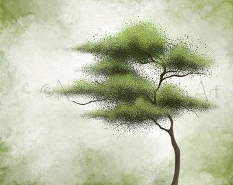 Wind Blowing Green Tree Wall Art 11 x 14 Print for Living Room Decor, Abstract Wall Decor (143)