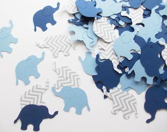 "Elephant Party Decoration, Elephant Confetti Navy Light Blue Gray Chevron 1.5"", 100 Ct., Birthday, Boy Baby Shower"