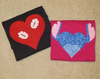 LiLo OR STiTCH VALENTINE Custom Boutique T SHIRT Tee HoLiDaY Heart LoVe Valentine's Day