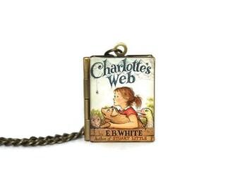 Charlotte's Web Book Locket Necklace