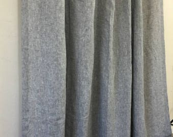 Chambray Grey Linen Shower Curtain – Mildew-Free, 72x72, 72x85, 72x94, or Custom Size