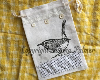 Handprinted Wren Bird Linoleum Block Print on Small Pouch Bag Original Print by Alaina Palmer Antique Lace Vintage Buttons