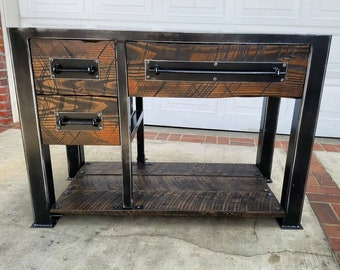 Vintage Industrial Reclaimed Bathroom Vanity Vanities  Etsy