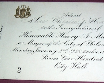 1928 ticket for mayoral inauguration, Philadelphia