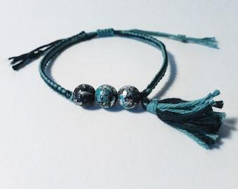 Macrame, beaded bracelet and tassel (to customize)