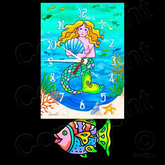 Mermaid Clock with Swinging Fish Pendulum • Beach Clock
