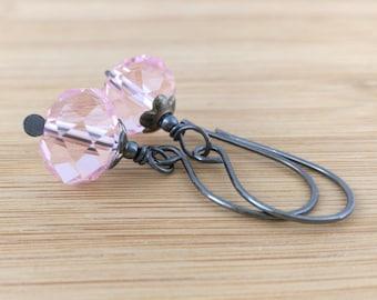 Pink Glass Earrings Oxidized Sterling Silver Earrings Wire Wrapped Rustic Earrings Cotton Candy Czech Glass Dangles Bubblegum Pink Earrings