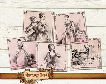 Square clipart French corset label 2.5 x 2.5 inch - Printable erotic instant download
