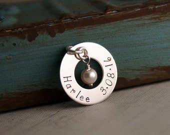 Washer with name and date - Sterling Silver hand stamped charm with birthstone or pearl