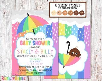 Pastel Rainbow Baby Shower Invitations, PRINTABLE Baby Shower Invitations, Rainbow Themed Baby Shower Invite, Rainbow Invite, Dark Skin Tone
