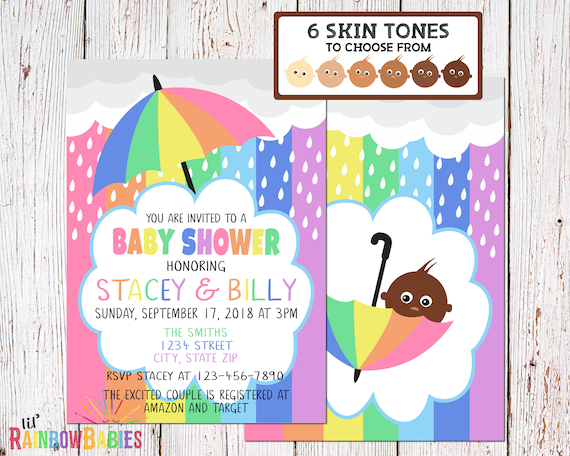 Pastel Rainbow Baby Invitation
