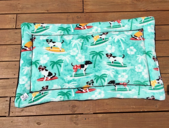 XL Dog Crate Bed, Surfing Dogs, Travel Pet Bed, Puppy Bedding, Summer Pet Bed, Dog House Pad, Kennel Cover, Dog Bed Large, Fits 30x48 Crate