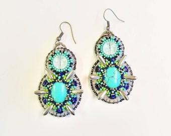 Celestial blue and silver drop earrings~ Festive turquoise beaded earrings~