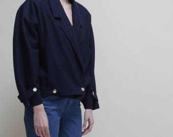 vintage 80s wool blue  jacket // padded shoulder // oversize //  ONESIZE