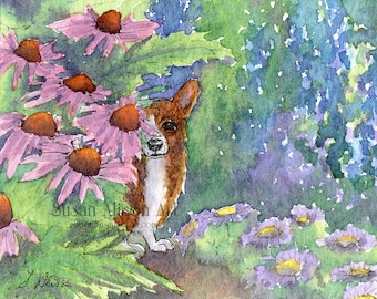 Welsh Corgi dog 5x7 8x10 11x14 print pup coneflower garden flowers floral hideout your own space alone from Susan Alison watercolor painting