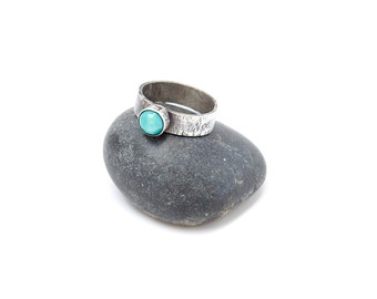 Textured Sterling Silver Turquoise Ring