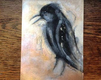 The Cawing...Original Mixed Media Painting...unframed Free Shipping US Only.